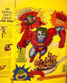 #captainplanet cereal box from back in the day on display at Carmine Galleries - where Barbara Pyle's personal collection is on display #thepowerisyours #environment #captainplanetandtheplaneteers