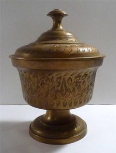 "Vintage Etched Heavy Brass Pedestal Dish/Urn W/Handle Lid 5"" X 6"""