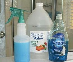 "This is on my ""To Try"" list.  Fill a spray bottle w/ 1/2 cup of BLUE Dawn & 1/2 cup of  white vinegar to create a cleaning solution for soap scum in bath/shower/sink. Important:  Vinegar needs to be heated first.  Heat in microwave approx. 1 minute.  In addition, if you need to increase measurements that's fine.  Always use equal parts of each ingredient.  Remember:  heated vinegar is key.  So, only make what you will use.  Spray the surface to be cleaned.  Let sit for 1 to 2 hours.  Rinse…"