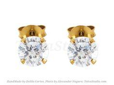 Solid 14k gold diamond studs-Tiny gold diamond earrings-2mm and 3mm diamonds Studs Earrings-yellow gold post-rose gold Studs-white gold Post