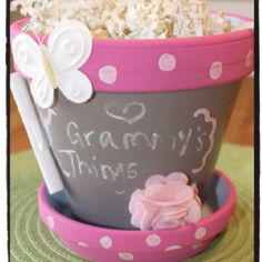 Hand painted clay pot with chalkboard paint...great gift idea!