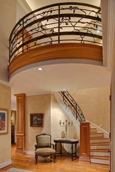 Craftsman Staircase with Laminate floors, Loft, High ceiling, Crown molding