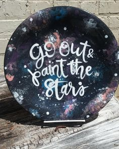 My latest obsession are shimmer glazes from @duncan_ceramics! I used Black Diamond to create this galaxy plate. Topped off with a Van Gogh quote and it has quickly become one of my favorite plates! There is a link in the bio showing how to paint this plate. I'd love to see if you make your own! #paintyourownpottery #pyop #vangogh #handlettering #galaxy