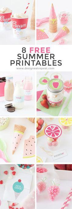 8 printables para fiestas con motivos de verano frutas helados conos fresas