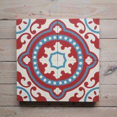 Variation in Rot Cement Tiles, Bespoke, Design, Vivid Colors, Art Nouveau, Handarbeit, Taylormade