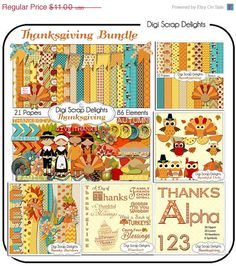 SALE 33 Off Thanksgiving Bundle Save 50 by DigiScrapDelights