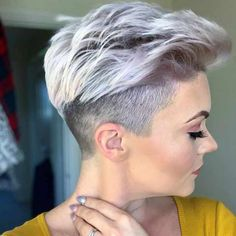 21 Best White Pixie Short Haircuts Ideas To Be Cool - - Short white pixie haircut, short haircut ideas, white pixie haircut, ash white hair color, short ha - Short Grey Hair, Short Hairstyles For Thick Hair, Short Pixie Haircuts, Pixie Hairstyles, Short Hair Cuts, Curly Hair Styles, Haircut Short, Modern Hairstyles, Short Rocker Hair