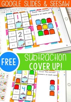 Grab this fun subtraction activity Subtraction Kindergarten, Subtraction Activities, Kindergarten Math Activities, Math Games, Educational Activities, Preschool Activities, Math Graphic Organizers, Math Notebooks, 1st Grade Math