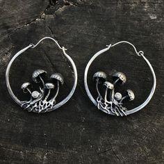 mushroom hoop earrings with snails PRESALE