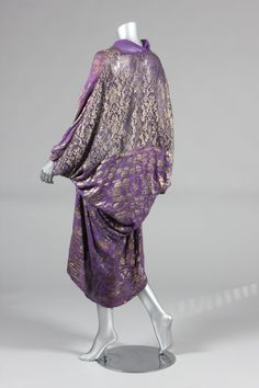 Marshall & Snelgrove purple and silver lame chiffon cocoon evening cape; Kerry Taylor Auctions