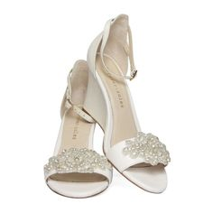 Ladies Ivory Wedge shoes with ivory pearl and by ForeverSoles, $199.95