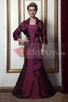すてきなトランペット/マーメイドライン袖無床まで長さちょう結び花嫁さん母ドレス