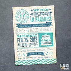 Destination Wedding, Reception Invitation  (PRINTABLE). $18.50, via Etsy.