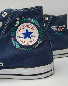 Converse All Star, Converse Shoes, Converse Noir, Converse Style, Custom Converse, Broderie Simple, Toms Outlet, Aesthetic Shoes, Shoe Art