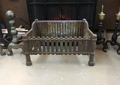 Antique Cast Iron Fireplace Coal Box, Firewood Box, Fireplace Grate, Cast Iron Basket Grate by TheRiverRoostVintage on Etsy
