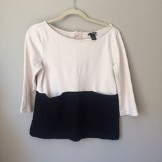 H&M Tops - H&M Nude & Black Color Blocked Top with Pockets