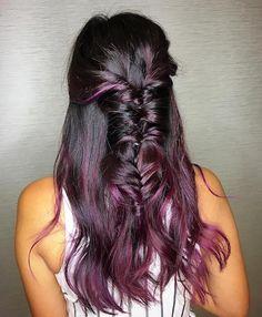 burgundy balayage with braids