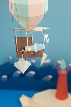 Cute balloon with 2 animals in paper | Fideli-Sundqvist