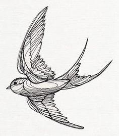 urbanthread stencil Engraved Swallow