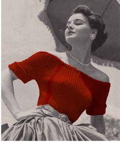 Vintage Knit Pattern 1950s Vogue EASY SUMMER SWEATERS, Bardot & Audrey Hepburn style - Treasury Item 0156