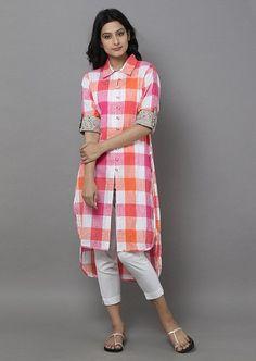 Fashion dresses - Pink Off White Cotton Check Shirt Simple Kurti Designs, Salwar Designs, Kurti Neck Designs, Kurta Designs Women, Kurti Designs Party Wear, Blouse Designs, Stylish Dresses, Fashion Dresses, Kurta Style