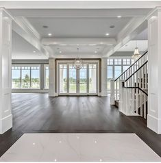 White living room with floor to ceiling windows, french doors, coffered ceiling, molding moulding millwork. Hamptons style home. Home design decor inspiration ideas. White living room with floor to ceiling windows, french Home Design Decor, Home Interior Design, House Design, Design Ideas, Door Design, Exterior Design, Modern Interior, Design Interiors, Black Trim Interior