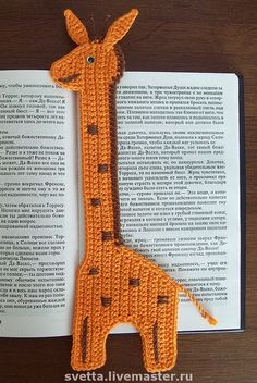 045 Giraffe Bookmark or decor pattern by LittleOwlsHut Crochet Bookmark Pattern, Crochet Bookmarks, Crochet Books, Love Crochet, Crochet Gifts, Crochet Flowers, Filet Crochet, Crochet Motif, Crochet Stitches