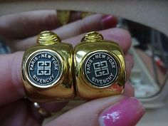 Signature Logo Givenchy Logos Clip Earrings 1980s Vintage Jewelry Jewels