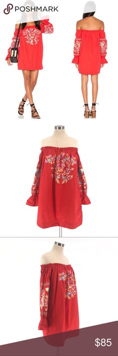 c1eaee949a NWT FREE PEOPLE Fleur Du Jour Shift Dress Red D460 NWT