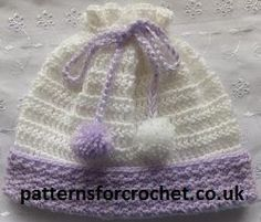 Free baby crochet pullon hat pattern from http://www.patternsforcrochet.co.uk/baby-pull-on-hat-usa.html USA and UK formats.