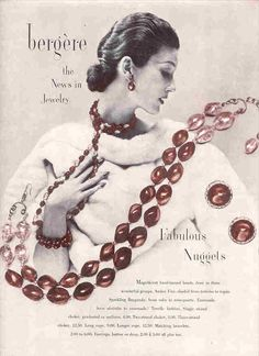 1952 Bergere jewelry ad 'Fabulous Nuggets'