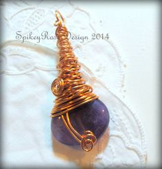 Wirewrapped Purple Agate Pendant  by GlendasJewelleryOz on Etsy