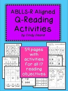 TPT-59 pages with activities for every reading objective in the ABLLS-R.