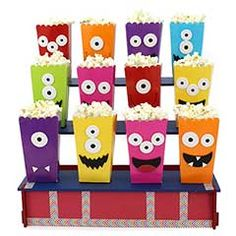 Productos - Caja Para Palomitas 13Cm 6Pz - Fantasias Miguel Monster 1st Birthdays, Monster Birthday Parties, Boy Birthday, First Birthdays, Little Monster Party, Monster Inc Party, Diy Halloween Decorations, Halloween Crafts, Halloween Party