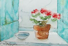 Watercolor Painting Print Geraniums in the Window Flowers Floral French Blue Shutters