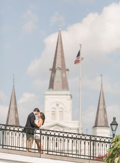 French Quarter Engagement photo in front of St. Louis Cathedral FRENCH QUARTER ENGAGEMENT SESSION |NEW ORLEANS WEDDING PHOTOGRAPHERS |