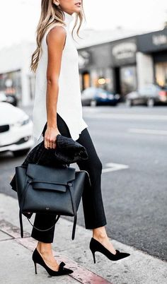 #fall #fashion · White Top + Black Pants & Heels + Black Leather Tote