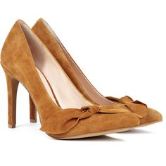 Sole Society Elisa suede bow pump ($45) ❤ liked on Polyvore featuring shoes, pumps, heels, luggage, bow shoes, high heel shoes, suede pumps, bow pumps and sole society shoes