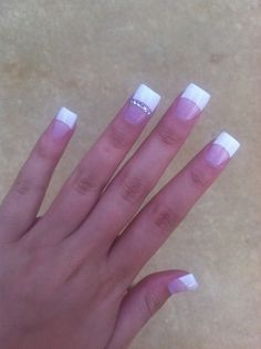 White tip nails with little diamonds - except on ALL the fingers! White Tip Nails, French Tip Nails, French Tips, French Manicures, Fancy Nails, Love Nails, How To Do Nails, Fabulous Nails, Gorgeous Nails