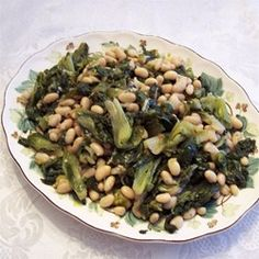 "Greens and Beans | ""Make sure you squeeze all the water out of your escarole. Very important."""