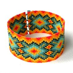 Colorful beaded cuff beaded bracelet beadwork by Anabel27shop