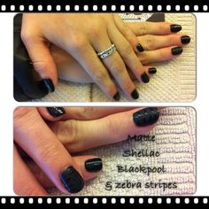 Blackpool shellac with matte accent finger with zebra stripes @ Flutterby Salon
