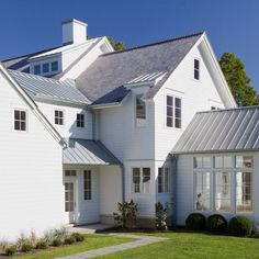 Exterior galvanized gutters white house metal roof Design Ideas, Pictures, Remodel and Decor