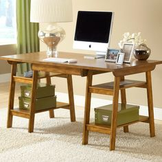 Oak-finished desk with 4 open shelves and a wood grain motif.   Product: Desk    Construction Material: Wood co...