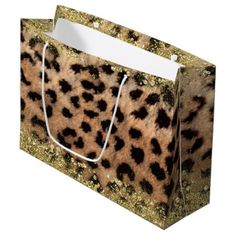 Leopard Cheetah Animal Print Gold Glitter Trendy Large Gift Bag - shower gifts diy customize creative