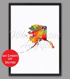 Your place to buy and sell all things handmade Map Wall Art, Map Art, Water Color World Map, State Map, Free Prints, Watercolor Print, Paper Texture, Travel Posters, Alaska