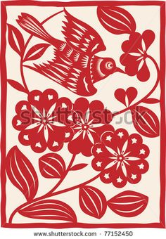 Traditional Chinese paper cutting. Flying bird. Vector by Nik Niklz, via Shutterstock