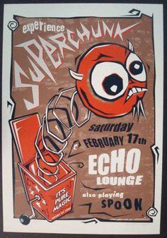 Original silkscreen concert poster for Superchunk and Spoon at The Echo Lounge in Atlanta, GA in 2001. Printed by Methane Studios. Signed and numbered by the artist 8/50. 14.25x20.75 inches.