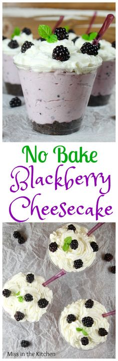 No Bake Blackberry Cheesecake Recipe the perfect summer dessert! From MissintheKitchen.com