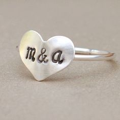 heart ring with initials. initial ring. sterling silver. friendship and love. best friend ring. sisters gift. two letters of your choice.